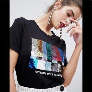 STRADIVARIUS Glitter Sequin T-Shirt
